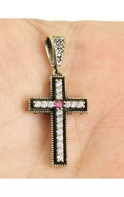 Antique Vintage 925 Silver Cross with Ruby and Topaz.