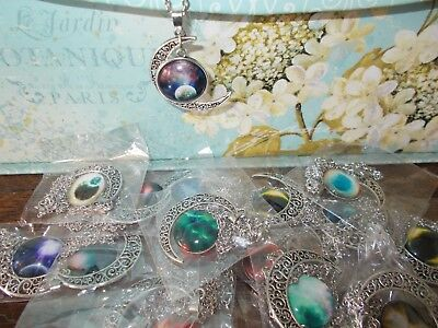 Wholesale Lot of 20 Mixed Glass Galaxy Planet Crescent Moon Pendant Necklace USA