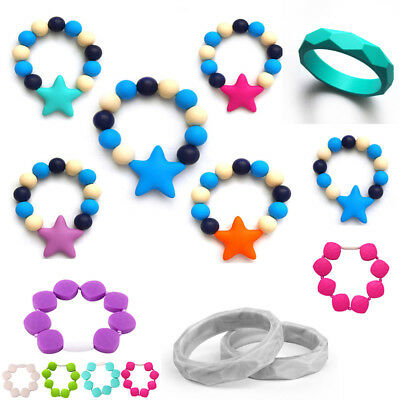 Silicone Biting Chew Bracelet Baby Teething Teether Soother Bangle Chewy
