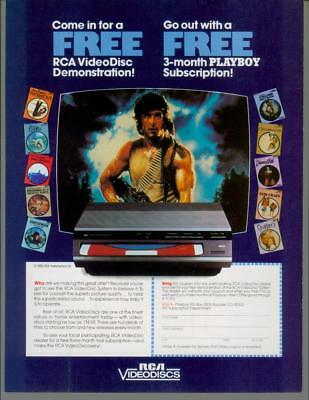 1983 RCA VideoDisc CED Disc Player System Rambo Movies Vintage Print Ad 1980s