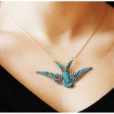 925 Sterling Silver Handcraft Jewelry Fabulous Turquoise Swallow Lady Necklace