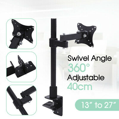 "13""-27"" Single HD LED Desk Mount Arm Monitor LED Desk Adjust Holder Screen TV"