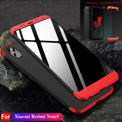 For Xiaomi Mix2s 6X Case 360 Full Cover for Redmi Note 5 5Plus+Temper Glass Film
