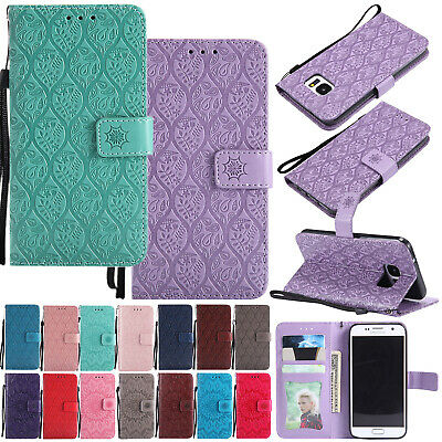 For Samsung Galaxy Phone/S9 Strap Magnetic Flip Leather Wallet Stand Case Cover
