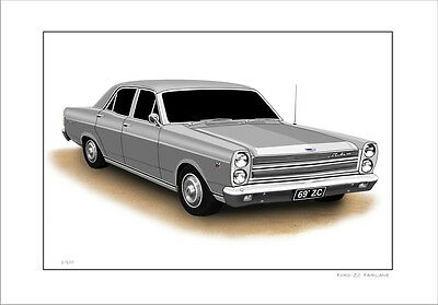 Ford  1969  Zc Fairlane  500  Limited Edition Car Drawing Print ( 7 Car Colours)
