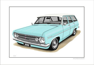 Holden Hr Station Wagon Limited Edition Car Drawing  Print ( 6 Car Colours)
