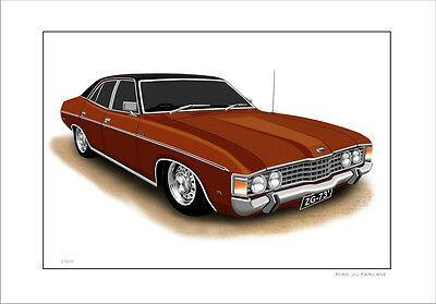 Ford   Zg  Fairlane  500  Limited Edition Car Drawing  Print  (7  Car Colours)