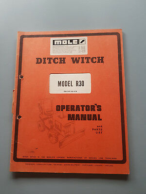 Ditch Witch R30 Operators Manual and Parts List