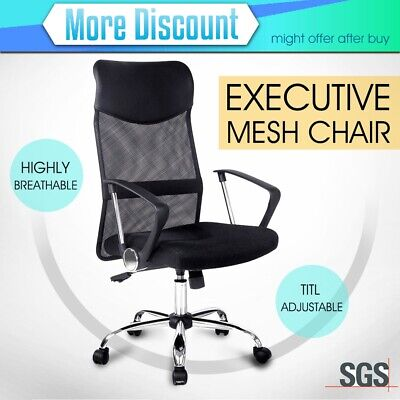 New PU Leather Executive High Back Office Chair Mesh Computer Desk Home AU STOCK