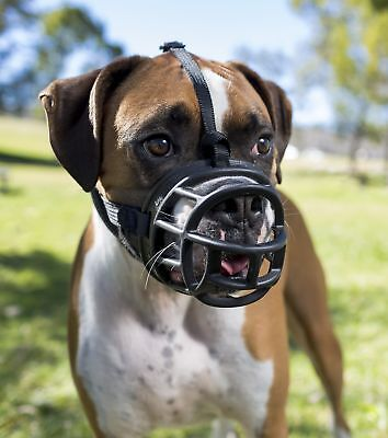 Dog Muzzle Size 4 Adjustable Belt Pet Dogs Head Mouth Safety Large Basket Black