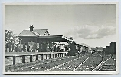 C.1914 Rp Npu Postcard Victorian Railways Train Arriving Mansfield Victoria E81