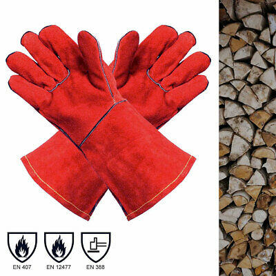 Heat Resistant Protective Red Leather Gloves | For Wood Burners, Fire Pits etc!