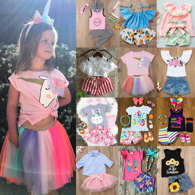 US Stock Kids Baby Girls Unicorn Floral Tops Shorts Skirt Pants Outfits Clothes