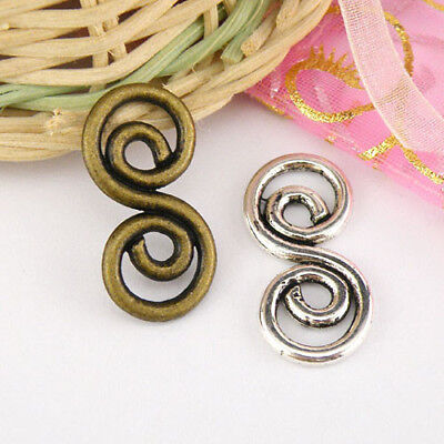5Pcs Tibetan Silver,Antiqued Bronze Spiral Charm Pendants Connectors M1551