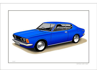 Datsun  180B  Sss  Coupe  Limited Edition Car Drawing Print  ( 8 Car Colours)