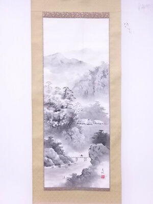 3518536: Japanese Wall Hanging Scroll / Hand Painted / Landscape