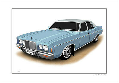 Ford 76  79  Zh P6 Ltd Town Car  Limited Edition Car Drawing Print  (6 Colours)