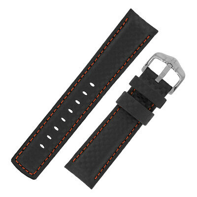 Hirsch CARBON Embossed Leather & Rubber Water Resistant Watch Strap in BLACK/RED