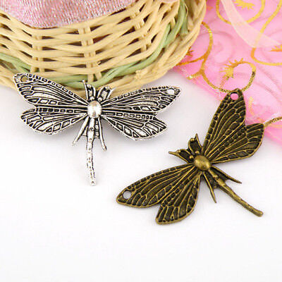 2Pcs Tibetan Silver,Antiqued Bronze Dragonfly Charm Pendants Connectors M1567