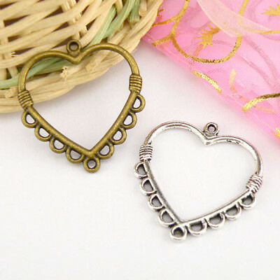 6Pcs Tibetan Silver,Antiqued Bronze 1-9 Heart Charm Pendants Connectors M1564