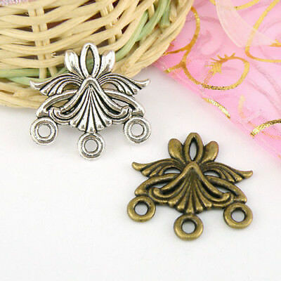 4Pcs Tibetan Silver,Antiqued Bronze 1-3 Charm Pendants Connectors 27mm M1563