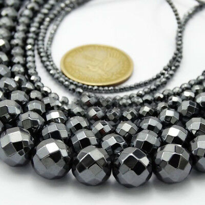 Black Hematite Gemstone Faceted Round Beads 15.5'' 3mm 4mm 6mm 8mm 10mm Eager