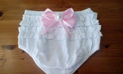 baby girls chistening white frilly pants/knickers with pink bow size 6-9 new