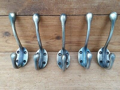 "5 x 5"" Cast iron coat hooks with nickel/brass finish. vintage style"