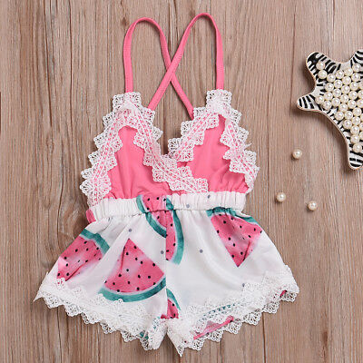 Watermelon Printed Toddler Kids Baby Girls Lace Romper Jumpsuit Outfits Clothes