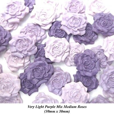 12 Light Purple Mix Lilac Lavender Sugar Roses wedding cake decorations 30mm