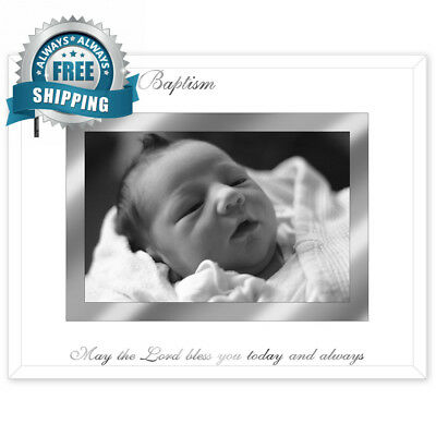 Malden International Designs Baby's Baptism Mirrored Glass With Silver Metal...