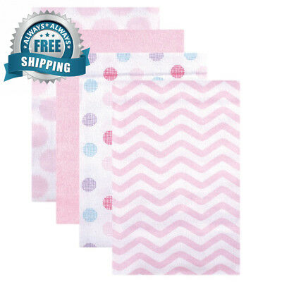 Luvable Friends Flannel Receiving Blankets, Pink Dots, 4 Count