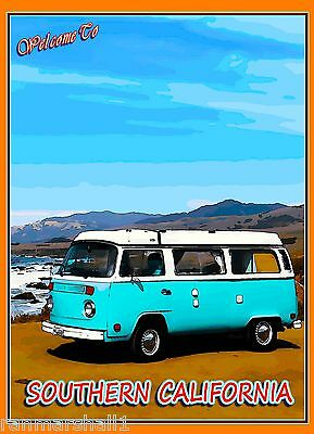 Welcome to Southern California VW Bus United States Travel Advertisement Poster