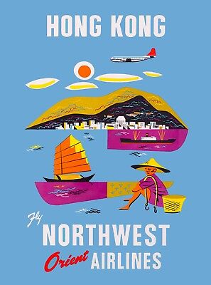 Hong Kong Fly Northwest Airlines Orient China Asia Vintage Travel Poster Print
