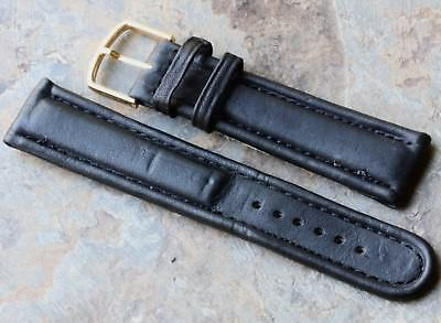 All stitched thick black 19mm vintage watch strap 1960/70s bargain price for NOS