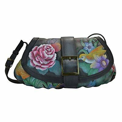 "Anuschka Women's Hand Painted Small Ruched Flap Handbag 12.5""x8""x1.5"" Vintage..."