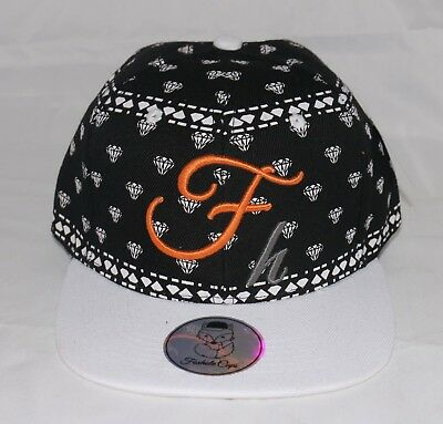 Hip Hop Fitted Baseball Cap Hat Summer Black / White Diamonds Print Large L New
