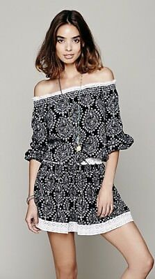 bb66892ea60cd3 NWOT  148 Sunday Romance Off-Shoulder Blouson Mini Dress Free People Black S