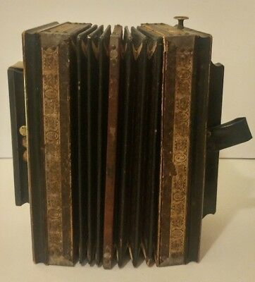 Antique Early 1900s Hand Carved Wooden 10 Button Accordion