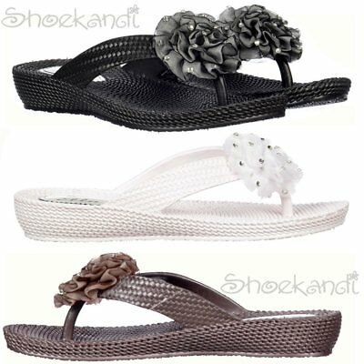 Womens Ladies Ella Diamante Flower Flat Flip Flop Sandal Beach Summer Shoe Size