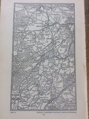 "c1920 Map of Ripley Pyrford Byfleet Ottershaw London South of the Thames 7""x4"""