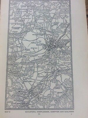 Guildford Worplesdon Compton Shalford c1920 Map London South of the Thames 7x4""