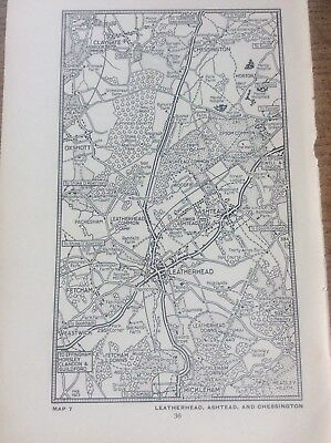 Leatherhead Ashtead Chessington c1920 Map London South of the Thames 7x4""