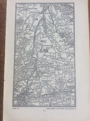 Coulsdon Chandon Redhill c1920 Map London South of the Thames 7x4""