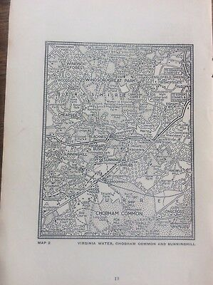 Virginia Water Sunninghill Chobham c1920 Map London South of the Thames 5.25x4""