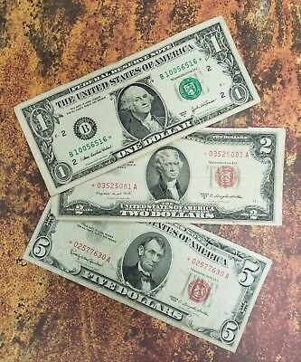 Estate Lot of STAR Notes - $1.00 , $2.00 , AND $5.00 - STAR Note Paper Money