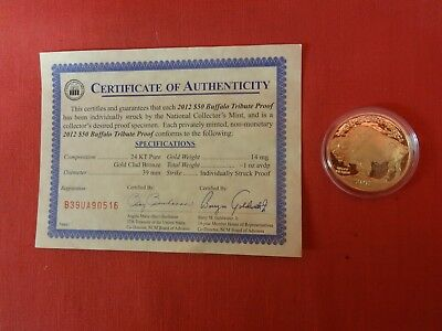 2012 $50 Gold Buffalo Tribute Proof Coin with COA