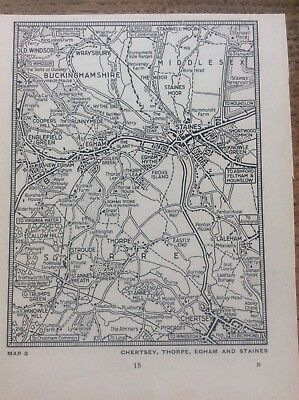 Chertsey Thorpe Egham Staines Bucks c1920 Map London South of the Thames 5x4""