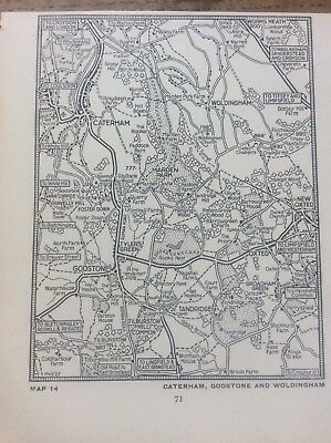Caterham Godstone Woldingham c1920 Map London South of the Thames 5x4""