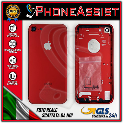 TELAIO SCOCCA POSTERIORE iPhone 7 BACK COVER MIDDLE Rosso Rossa Red